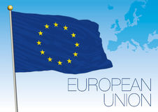European Union flag and map. Vector file, illustration Stock Photography