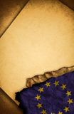 European Union Flag and old paper. European Union Flag and old document papers Royalty Free Stock Photography