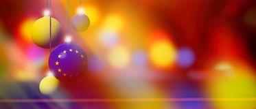 European Union Flag On Christmas Ball With Blurred And Abstract Background. Stock Photo