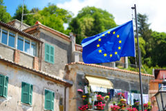 European Union flag over beautiful town of Nemi Stock Images