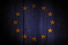 European union flag. European union flag over a grunge wooden background Royalty Free Stock Photography