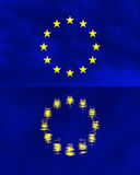 European Union flag over water reflection Stock Images