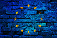 European union flag painted on aged brick wall Royalty Free Stock Image