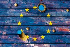 European Union flag painted on old weathered boards Royalty Free Stock Image