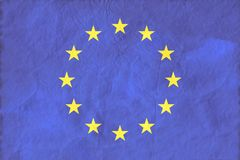 European Union flag on paper texture background. Royalty Free Stock Photography