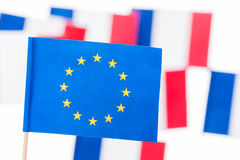 European Union flag with pole against French flags Royalty Free Stock Images