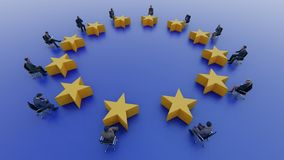 European Union flag politicians sit and discuss in parliament. 3D rendering stock illustration
