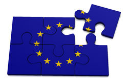 European Union flag puzzle, 3d Royalty Free Stock Images