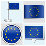 European Union flag - set of sticker, button. European Union flag - set of various sticker, button, label and flagstaff Royalty Free Illustration
