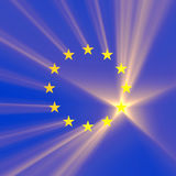European Union flag stars light flare Royalty Free Stock Images