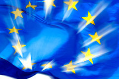 European union flag in sunbeams royalty free stock photos