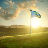 European union flag on sunset landscape Stock Images