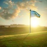 European union flag on sunset landscape Stock Images