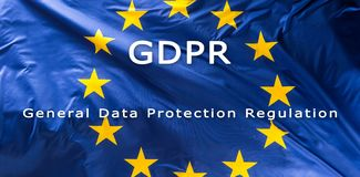 European Union flag with text GDPR. European Union flag with text GDPR -  General Data Protection Regulation Royalty Free Stock Photography
