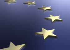 European Union Flag. European union theme with golden stars. 3D illustration stock illustration