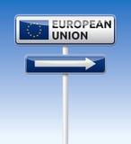 European union flag. Traffic board with arrow on blue sky background Stock Photo