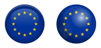 European Union flag under 3d dome button and on glossy sphere / ball.  stock illustration