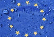 European Union Flag under rain Stock Photography