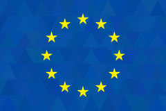 European union flag on unusual blue triangles background. Triangular design. Original proportions and high quality. Vector. EU Stock Photos