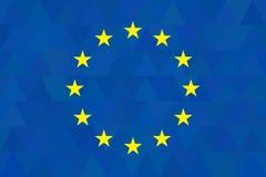 European union flag on unusual blue triangles background. Triangular design. Original proportions and high quality. Vector. EU Stock Photos
