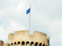 European Union flag up on Castle Sant'Angelo tower Royalty Free Stock Photography