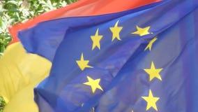 European Union Flag Waving stock footage