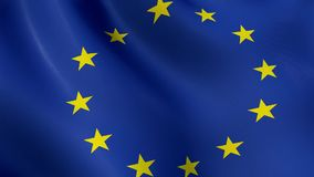The European Union flag, waving in the wind, animated stock video