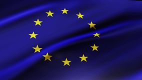 European Union Flag Waving in Wind Slow Motion Animation . 4K Realistic Fabric Texture Flag Smooth Blowing on a windy day. European Union flag waving in wind stock video