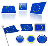 European Union flags stock images