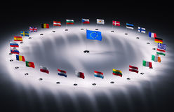 European union flags. Twenty seven european union flags 3d render Stock Photography