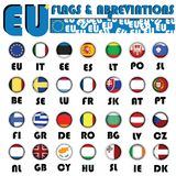 European Union flags. Realistic European Union flags buttons with country abbreviations Stock Photography