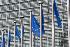 European Union flags. In front of the Berlaymont building in Brussels, Belgium royalty free stock photo