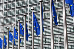 European Union flags. Against the European Parliament building Stock Photos