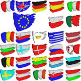 European Union flags. Painted flags of all european union countries Vector Illustration