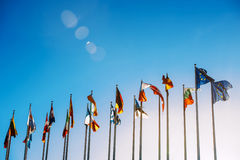 European Union flags against blue sky Royalty Free Stock Images