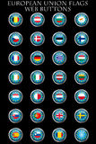 European Union flags buttons. On black background Royalty Free Stock Photography