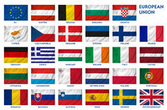 European Union flags. Clipping path included for easy selection Stock Photos