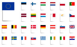 European union flags. Flags collection of all european union countries Royalty Free Stock Photo