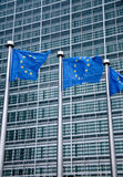 European Union flags. At the European Commission headquarters in Brussels, Belgium stock photo