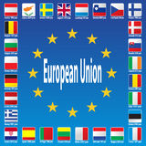 European Union Flags. Europe  Patriotic  Blue  Luxembourg  Patriot  Republic  Union  Hungary  Language  Portugal Stock Photography