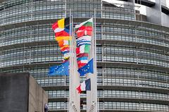 European Union Flags and France flag flies at half-mast Royalty Free Stock Photography