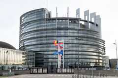 European Union Flags and France flag flies at half-mast. STRASBOURG, FRANCE - 14 Nov 2015: European Union Flags and France flag flies at half-mast in front of Stock Image