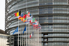 European Union Flags and France flag flies at half-mast Royalty Free Stock Image