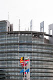 European Union Flags and France flag flies at half-mast Stock Image