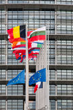 European Union Flags and France flag flies at half-mast. STRASBOURG, FRANCE - 14 Nov 2015: European Union Flags and France flag flies at half-mast in front of Stock Photography