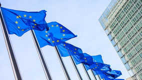 European Union flags in front of the Berlaymont building Royalty Free Stock Photography
