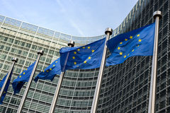 European Union flags. In front of the Berlaymont building (European commission) in Brussels, Belgium Stock Photography
