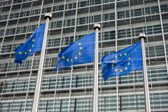 European Union flags. In front of the Berlaymont building (European commission) in Brussels, Belgium Stock Image