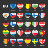 European Union flags in hearts Stock Image