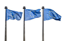 European Union flags isolated on white. Background Royalty Free Stock Photo